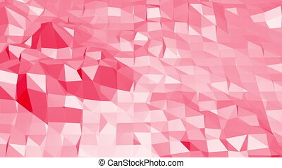 Rosy or pink low poly surface as chemical environment. Polygonal digital mosaic red environment or background with moving in cartoon low poly popular modern stylish 3D design.