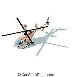 Fire support or reconnaissance helicopter isometric icon...