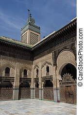 Courtyard of the Madrasa Bou Inania in Fez, Morocco, Africa...
