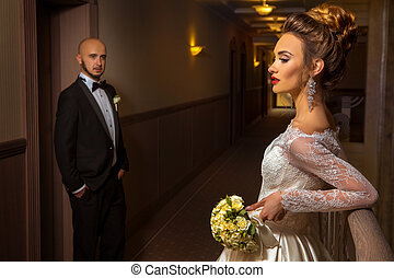portrait of just merried young elegant couple