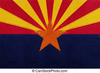 Flag of Arizona Grunge - Illustration of the flag of Arizona...