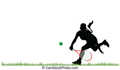 girl play tennis on grass vector