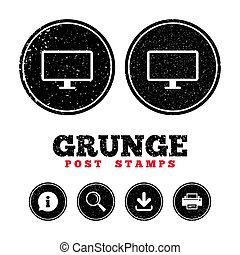 Computer widescreen monitor sign icon. - Grunge post stamps....