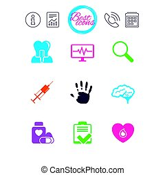 Medicine, medical health and diagnosis icons. - Information,...