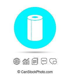 Paper towel sign icon. Kitchen roll symbol. Copy files, chat...
