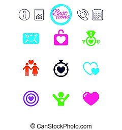 Love, valentine day icons. Target with heart. - Information,...
