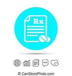 Medical prescription Rx sign icon. Pharmacy. - Medical...