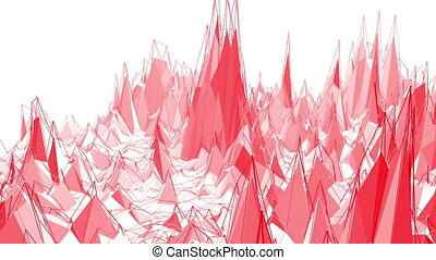 Rosy or pink low poly surface as landscape or chemical...