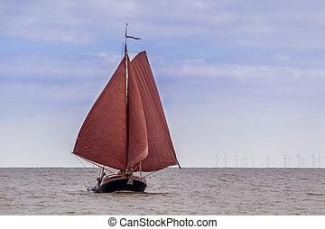 Tradional Dutch flatbottom sailing boat - Traditional dutch...