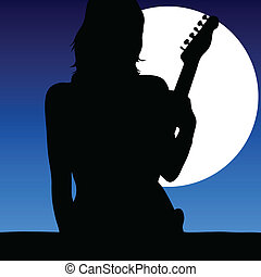 girl with a guitar in the moonlight vector illustration