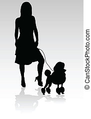 girl with a poodle vector silhouettes