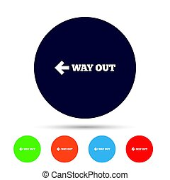 Way out left sign icon. Arrow symbol. Round colourful...