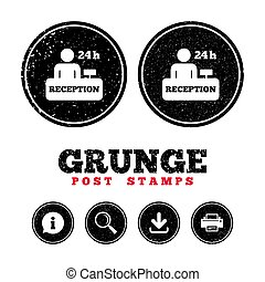 Reception sign icon. Hotel registration table. - Grunge post...