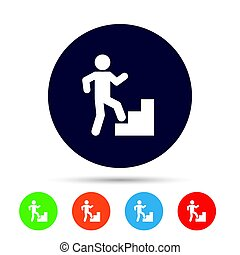 Upstairs icon. Human walking on ladder sign. Round colourful...