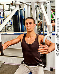 Training apparatus gym for man pumping muscles . Chest...