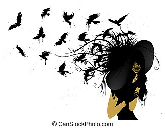 Flying birds from the head of a woman in black - Black...