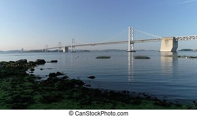 Aerial view of Seto-bridge located in Kagawa, Japan - Aerial...