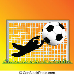goalkeeper in goal with red background