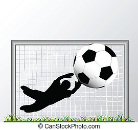 goalkeeper in goal with gray background