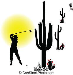golfer in desert vector silhouettes