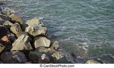 Waves on pebble beach
