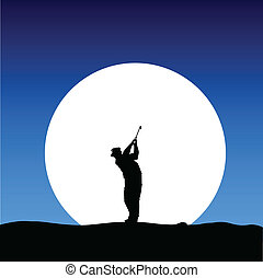 golfer on the moon