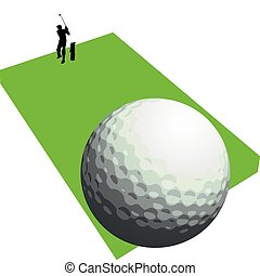 golfer shooting one vector silhouettes
