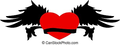 Retro heart with wings for tattoo design.