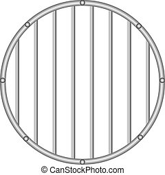 Round grid with vertical rods - Industrial round grille with...