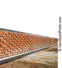 Brown Brick fence - Perspective of Brown brick fence with...