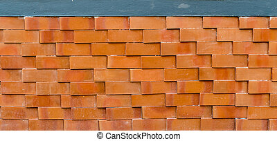 Brown Brick fence - Brown brick fence with modern pattern