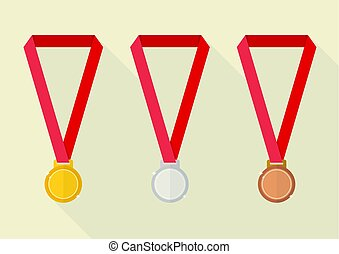 Gold silver and bronze award medals
