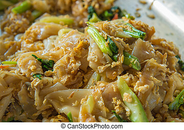 Fired thin noodles in Sweet Soy Sauce with Pork, Thai food...