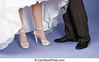 sposo,  -, piedi, sposa, matrimonio, composizione
