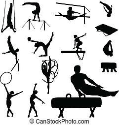 gymnastique, homme, femme