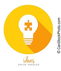 Lightbulb with puzzle piece as idea and solution concept
