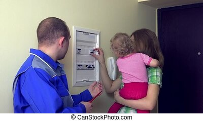 man talk with woman with baby in hand to circuit breaker. 4K...
