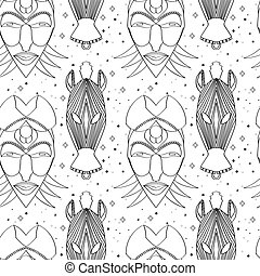 Seamless outline tribal mask pattern - Seamless outline...