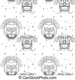 Seamless outline tribal mask pattern 29 - Seamless outline...