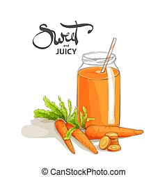 Carrot smoothies on a white background - Delicious carrot...