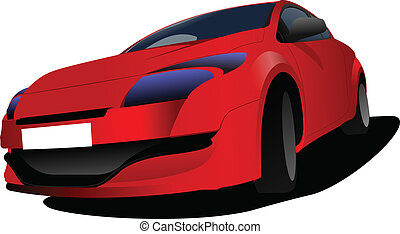 Red car on the road. Vector