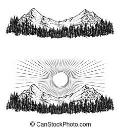 Hand drawn vector illustrations the mountains with a coniferous forest on them and the sun
