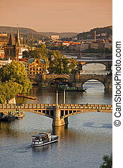 Bridges in Prague over the river