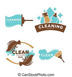 Cleaning service logo emblems with equipments set on white -...