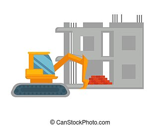 Orange excavator and unfinished building with pile of red...