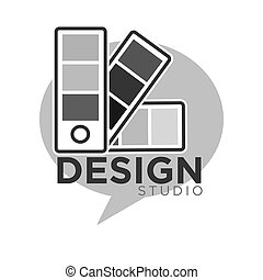 Design studio colorless logo label isolated on white. Vector...