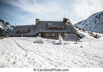 Mountain shelter in Polish mountains Tatry, Valley piec...