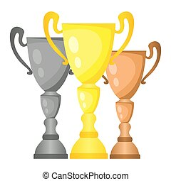 Set of vector trophy champion cups in gold, silver and bronze.