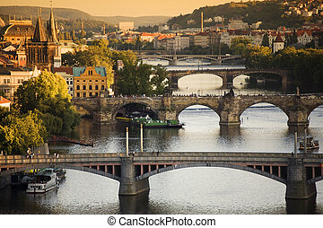 Bridges in Prague over the river V