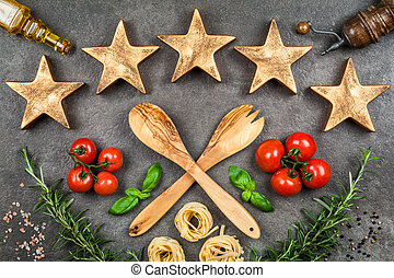 Five stars on dark background - Five stars sign on dark...